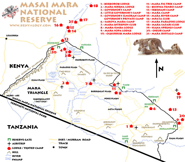 Map of lodges & camps in and around Masai Mara